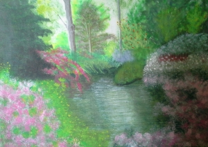 This was an early painting. I was pleased with the tree trunks but not so happy with the flowers.
